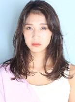 毛先ワンカール◇外国人風大人ハイライト(髪型セミロング)