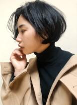 首元スッキリショートボブ(髪型ショートヘア)