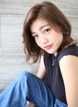 透明感ロブ(髪型ミディアム)
