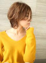 前髪長めのひし形レイヤー(髪型ショートヘア)