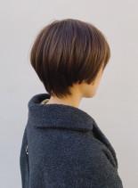 オレンジベージュショートボブ(髪型ショートヘア)