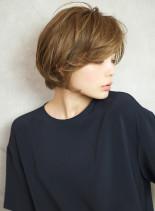 前髪長め☆ふんわり大人可愛いショートボブ(髪型ショートヘア)