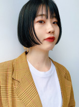 黒髪シンプルショートボブ(髪型ショートヘア)