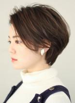 大人かわいい前髪長めショートヘア(髪型ショートヘア)