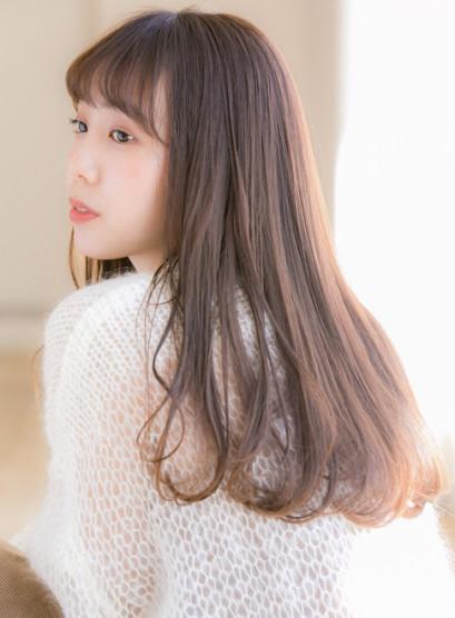 ヌーディベージュ×艶ワンカール(髪型ロング)