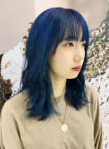 韓国風ディープブルーセミロング(髪型セミロング)