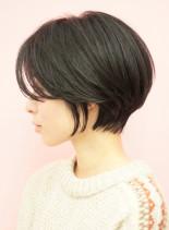 手入れ簡単☆前髪長め似合わせショートボブ(髪型ショートヘア)