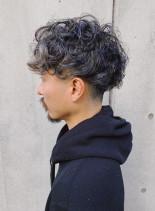ランダムパーマ2ブロックマッシュショート(髪型メンズ)