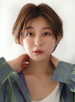 毛先パーマの大人ショート(髪型ショートヘア)