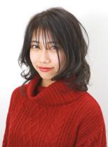 ぎりぎり結べる鎖骨下のレイヤースタイル(髪型ミディアム)