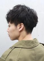 2ブロックショート×くせ毛パーマ(髪型メンズ)