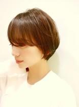 小顔◎シンプルショートボブ(髪型ショートヘア)