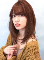ナチュラル◇ひし形レイヤーミディアム(髪型ミディアム)