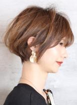 ひし形シルエット丸みショートボブ(髪型ショートヘア)