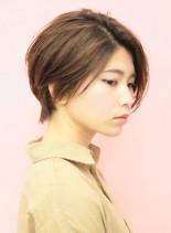 前髪長めな楽ちんスタイリングショート(髪型ショートヘア)
