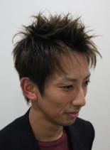 アップバングショート×ツーブロック(髪型メンズ)