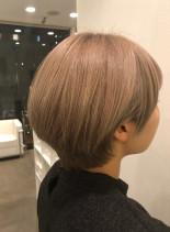大人ハイライトショートボブ(髪型ショートヘア)