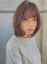 ひし形シルエット×柔らか大人ミディ(髪型ボブ)