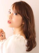 レイヤーカットで横顔美人に☆お手入れ簡単(髪型セミロング)