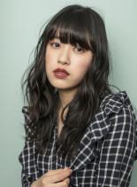 暗髪レイヤーセミロング(髪型ロング)
