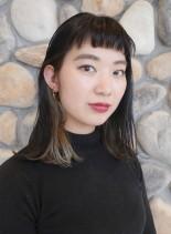 おん眉ロブスタイル*インナーカラー(髪型ミディアム)