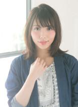 女っぽナチュラルセミディ(髪型ミディアム)