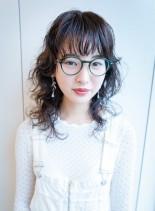 マッシュウルフミディ(髪型セミロング)