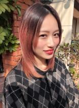 ハイレイヤー×大人グラデーションカラー(髪型ミディアム)