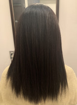 全体ビビリ毛の根元から毛先までの髪質改善(髪型セミロング)