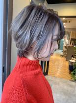 襟足スッキリ前下がりショートボブ(髪型ショートヘア)