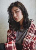 しっかりウェーブ★Aラインのセミロング(髪型ミディアム)