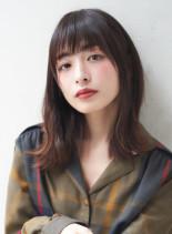 30代、40代に人気ゆるいくびれスタイル(髪型ミディアム)