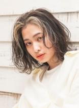 レイヤーウェーブミディ(髪型ボブ)