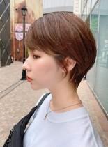 小顔効果◎耳にかけられる丸みショート(髪型ショートヘア)