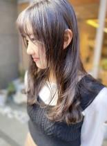 透明感カラーのナチュラルウェーブロング(髪型ロング)