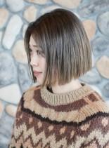 大人ワンレンボブ ☆ シアベージュ(髪型ボブ)