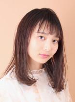 簡単スタイリング☆ミディアムストレート(髪型ミディアム)