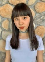 ワイドバング ☆ さらさらつやロング(髪型セミロング)