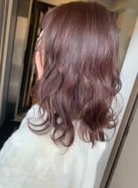 パープルアッシュロブ(髪型ミディアム)