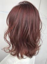 レッドアッシュロブ(髪型ミディアム)