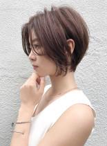 大人かわいい ショートボブ30代40代(髪型ショートヘア)