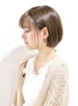 ショートボブと艶髪ブラウン(髪型ショートヘア)