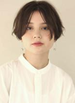 お手入れ簡単 前髪長めマッシュショート(髪型ショートヘア)