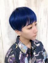 ブルーショートカット☆(髪型ベリーショート)