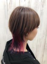 ピンクカラーウルフ★(髪型ミディアム)
