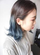 ミディアム×アイスブルーカラー(髪型ミディアム)