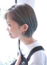 ショートボブ×アイスブルーカラー(髪型ボブ)