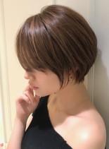 30代40代の大人丸みショートボブ(髪型ショートヘア)