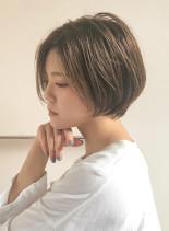 美フォルム☆かきあげショートボブ(髪型ショートヘア)