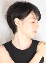 30代40代50代大人黒髪ツヤ感ショート(髪型ショートヘア)